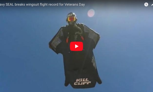 Navy SEAL breaks wingsuit flight record for Veterans Day