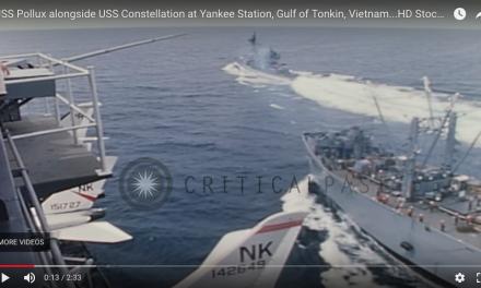 USS Pollux alongside USS Constellation at Yankee Station, Gulf of Tonkin, Vietnam