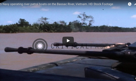 US Navy operating river patrol boats on the Bassac River, Vietnam