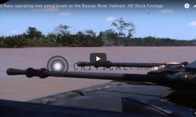 US Navy operating river patrol boats on the Bassac River, Vietnam